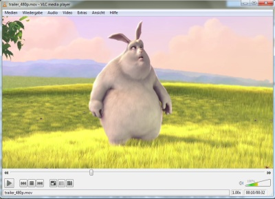 VLC Media Player spielt Big Buck Bunny
