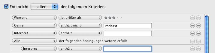 iTunes Wiedergabeliste mit Alt